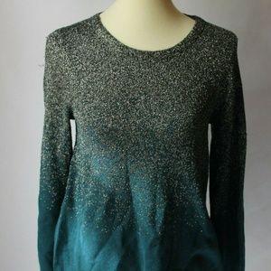 Alfani Ombre Sweater Blue Green Sparkle S